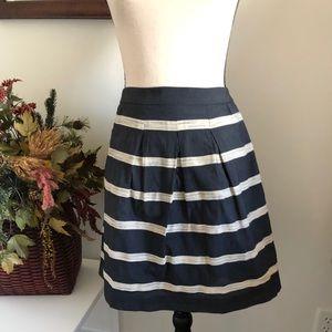 LOFT Navy and cream striped full skirt